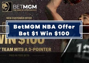 BetMGM NBA Offer – Bet $1, Win $100 If Any Team Hits A 3-Pointer