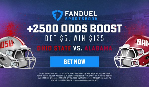 fanduel odds boost +2500 on Ohio State Buckeyes vs Alabama Crimson Tide