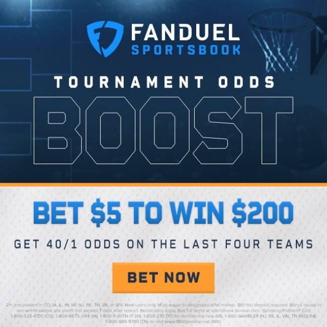 FanDuel ncaa tournament odds boost 40-1