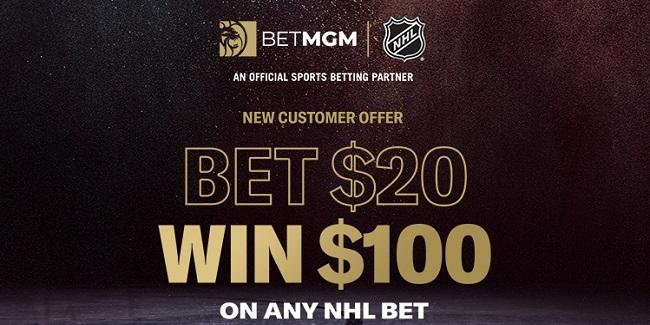 BetMGM Bet $20 on NHL win $100 free