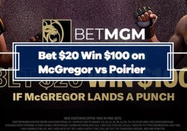 Bet $20, Win $100 With BetMGM if McGregor Lands a Punch on Poirier